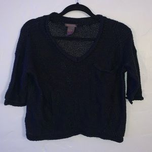 Black Cropped Distressed Short Sleeve Sweater